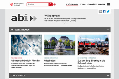 Screenshot der neuen abi» Website (www.abi.de)